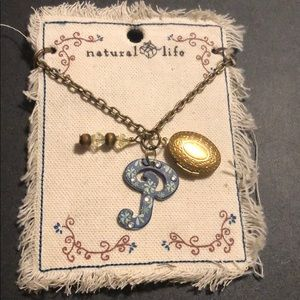 Necklace w/ beads the letter P and opening locket